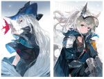 absurdres alchemaniac animal_ears aqua_capelet aqua_jacket arknights armband armor bangs black_capelet black_choker black_gloves black_headwear blush border capelet choker collage collarbone collared_capelet commentary english_commentary eyebrows_visible_through_hair fish fish_request gauntlets gloves gradient gradient_background grani_(arknights) grey_background grey_capelet grey_hair grin hair_between_eyes hand_on_own_cheek hand_on_own_face hand_up hat high_ponytail highres horse_ears horse_tail jacket layered_capelet layered_sleeves long_hair looking_at_viewer looking_back open_clothes open_jacket pale_skin parted_lips pauldrons photoshop_(medium) ponytail profile red_eyes shiny shiny_hair shooting_star short_sleeves shoulder_armor sideways_glance silver_hair skadi_(arknights) smile star_(sky) tail very_long_hair violet_eyes white_border white_hair