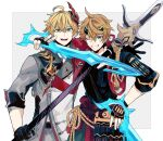 2boys absurdres ahoge bangs black_gloves blonde_hair blue_eyes cosplay costume_switch earrings fake_horns fingerless_gloves genshin_impact gloves grin hair_between_eyes headband highres holding holding_weapon horned_headwear horns jacket japanese_clothes jewelry looking_at_viewer male_focus mask mask_on_head multiple_boys one_eye_closed open_mouth orange_hair pants polearm ponytail red_scarf scarf simple_background single_earring smile spear tartaglia_(genshin_impact) thoma_(genshin_impact) u_5ham0 weapon