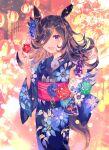 1girl absurdres animal_ears blue_kimono brown_hair candy_apple floral_print food hair_over_one_eye highres holding holding_food horse_ears horse_girl horse_tail japanese_clothes kimono long_hair long_sleeves obi open_mouth print_kimono rice_shower_(umamusume) rioka_(southern_blue_sky) sash smile solo summer_festival tail umamusume violet_eyes wide_sleeves yukata