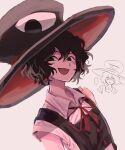 2others androgynous black_eyes black_hair cosplay detached_sleeves enraku_tsubakura enraku_tsubakura_(cosplay) evanescent_existence hat hemo_(hemoroda) highres large_hat len'en multiple_others senri_tsurubami smirk top_hat