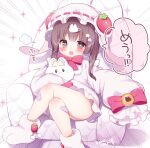 1girl bandaid bandaid_on_leg bangs blush bow bowtie brown_eyes brown_hair character_request copyright_request couch crossed_legs emphasis_lines hair_ornament hat highres mob_cap momozu_komamochi open_mouth paw_shoes red_bow red_neckwear shoes short_hair_with_long_locks sleeves_past_fingers sleeves_past_wrists solo star_(symbol) star_hair_ornament symbol-shaped_pupils thick_eyebrows white_background