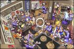 6+girls animal_ears back bag black_hair blonde_hair blue_hair blush bow bowl bowtie braid breasts brown_hair carrot casual cellphone character_doll character_request chopsticks clenched_hand closed_eyes clothes_hanger commentary cup drinking_glass facial_hair fang food glasses grey_hair hair_ornament hairclip handbag hat highres hood hoodie horse_ears horse_girl horse_tail jacket jewelry long_hair medium_hair multicolored_hair multiple_girls necklace okonomiyaki open_mouth partially_translated phone plate pleated_skirt pointing ponytail poster_(object) sakazaki_freddy school_uniform short_hair sitting skirt smartphone smile spatula sweatdrop sweater tail teeth tongue tracen_school_uniform translation_request two-tone_hair umamusume white_hair