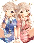 2girls absurdres bangs blue_dress blue_eyes blue_neckwear blush braid braided_bangs brown_eyes closed_mouth commentary_request dress eyebrows_visible_through_hair grey_hair grin hair_over_shoulder hair_twirling hand_up hands_together highres hisakawa_hayate hisakawa_nagi idolmaster idolmaster_cinderella_girls idolmaster_cinderella_girls_starlight_stage long_hair low_twintails multiple_girls one_eye_closed pink_dress pink_neckwear plaid_neckwear pleated_dress puffy_short_sleeves puffy_sleeves sailor_collar sailor_dress short_sleeves siblings simple_background sisters sitting smile starry_background twins twintails v-shaped_eyebrows very_long_hair white_background white_sailor_collar wrist_cuffs yata_(yatao_zzz)