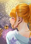 1boy 1girl blonde_hair blush closed_eyes contemporary darkness_(konosuba) earrings feeding fireworks food highres izawa_koushi japanese_clothes jewelry kimono kono_subarashii_sekai_ni_shukufuku_wo! outdoors ponytail takoyaki yukata