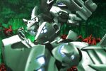 alien beta_(muvluv) damaged from_side genya_(genya67) glowing highres mecha muvluv muvluv_alternative no_humans open_hand open_mouth science_fiction spoilers tactical_surface_fighter takemikazuchi_(muvluv) textless visor