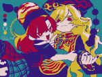 2girls bangs black_nails black_shirt blonde_hair blue_background chain chinese_clothes commentary_request expressionless eyebrows_visible_through_hair fox_print gold_chain hair_between_eyes hecatia_lapislazuli hug junko_(touhou) long_hair long_sleeves looking_at_viewer multicolored multicolored_clothes multicolored_skirt multiple_girls nail_polish off-shoulder_shirt off_shoulder open_mouth phoenix_crown polos_crown raya_(uk_0128) red_eyes red_nails redhead shirt short_sleeves simple_background skirt t-shirt tabard tassel touhou twitter_username upper_body