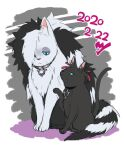 animalization cat closed_mouth collar commentary_request dated eyeshadow green_eyes kurobe_sclock makeup marnie_(pokemon) piers_(pokemon) pokemon pokemon_(game) pokemon_swsh red_ribbon ribbon sitting toes