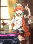 1girl absurdres atelier_(series) atelier_ryza belt cauldron cosplay gloves hat highres holding hololive hololive_english holomyth jewelry necklace open_mouth potion red_shorts reisalin_stout reisalin_stout_(cosplay) riamu_(liam_razo) short_hair short_shorts shorts solo takanashi_kiara thigh-highs vial window
