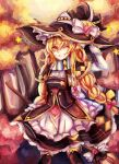 1girl ;d absurdres autumn_leaves blonde_hair braid broom frilled_skirt frills hat hat_ornament highres kirisame_marisa long_hair looking_at_viewer one_eye_closed open_mouth scarf single_braid skirt smile solo star_(symbol) star_hat_ornament thigh-highs touhou witch_hat yakumo_1041624199 yellow_eyes