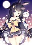 1girl 1other :3 animal_ears arms_up ass_visible_through_thighs bangs bare_shoulders black_hair blue_kimono blunt_bangs bow carrot_hair_ornament food-themed_hair_ornament full_moon hair_bow hair_ornament hairclip japanese_clothes kimono long_hair moon night night_sky off_shoulder one_eye_closed original outdoors pink_eyes rabbit_ears ribbon short_kimono sky smile star_(sky) starry_sky thigh_gap thighs tsukimi_(xiaohuasan) wind wind_lift