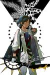 1boy arknights bag black_hair black_shirt cowboy_shot dark-skinned_male dark_skin earrings gloves hand_up highres holding_hands jacket jewelry looking_at_viewer male_focus mizuno_star necklace open_clothes open_jacket shirt short_hair short_ponytail shoulder_bag signature sleeve_cuffs solo sword thorns thorns_(arknights) weapon white_background white_gloves white_jacket yellow_eyes