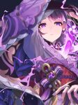 1girl arm_above_head bangs between_breasts black_gloves bow braid breasts choker commentary electricity genshin_impact gloves highres holding holding_sword holding_weapon japanese_clothes kimono long_hair looking_at_viewer mole mole_under_eye obi parted_lips partially_fingerless_gloves purple_bow purple_hair purple_kimono purple_nails raiden_shogun ribbon sash single_braid solo sorano_eika sword tomoe_(symbol) upper_body violet_eyes vision_(genshin_impact) weapon