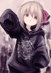 1girl absurdres blonde_hair casual english_text highres hood hoodie lit_ter open_mouth oversized_clothes pentagram red_eyes rumia short_hair sleeves_past_fingers sleeves_past_wrists slit_pupils solo touhou upper_body