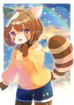 1girl :d animal_ear_fluff animal_ears blue_shorts blurry blurry_background breasts brown_eyes brown_hair commission depth_of_field eyebrows_visible_through_hair food food_on_head fried_egg furry hood hood_down hoodie kou_hiyoyo lens_flare long_sleeves looking_at_viewer object_on_head open_mouth original puffy_long_sleeves puffy_sleeves raccoon_ears raccoon_girl raccoon_tail short_eyebrows short_shorts shorts skeb_commission small_breasts smile solo striped_tail tail thick_eyebrows yellow_hoodie