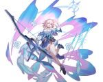 arrow_(projectile) bare_legs bow frilled_skirt frills highres honkai:_star_rail honkai_(series) march_7th official_art one_eye_closed open_hand open_mouth pink_hair shirt shoes short_hair skirt sleeve_cuffs solo transparent_background weapon white_shirt