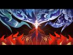 1girl element_bending fire fu_hua fu_hua_(phoenix) full_body glowing gugugu_(enigma0009) hair_ornament highres honkai_(series) honkai_impact_3rd long_hair ponytail scenery solo water