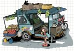 1girl backpack bag banana box brown_hair cat food fruit fruit_stand grapes ground_vehicle highres melon motor_vehicle motorcycle original polyester_putty scales shirt shoes short_hair skirt sneakers t-shirt truck