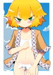 1girl 221_(tsutsuichi) bangs blonde_hair blue_sky blush breasts brown_jacket closed_mouth clouds commentary_request cowboy_shot fundoshi green_eyes hair_between_eyes jacket japanese_clothes looking_at_viewer mizuhashi_parsee multicolored multicolored_clothes multicolored_jacket navel open_clothes open_jacket pointy_ears sarashi short_hair short_sleeves sky small_breasts solo tearing_up touhou