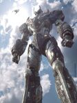 3d absurdres aircraft clouds commentary dirty english_commentary flying glowing glowing_eyes highres lights machinery mazinger_(series) mazinger_z mazinger_z:_infinity mazinger_z_(mecha) mecha nduul pacific_rim parody pilder realistic redesign science_fiction signature style_parody super_robot web_address