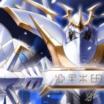 1boy 2021 armor blonde_hair digimon digimon_(creature) digimon_adventure_02 full_armor gold_trim helmet holding holding_sword holding_weapon imperialdramon_paladin_mode keyliom looking_at_viewer no_humans paladin red_eyes shoulder_armor signature sword symbol upper_body weapon