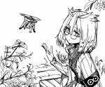 1girl arknights armband commentary drone eyebrows_visible_through_hair feather_hair greyscale hand_up jacket looking_at_viewer monochrome owl_ears plant rhine_lab_logo short_hair silence_(arknights) simple_background sketch solo twitter_username underwear upper_body white_background yom