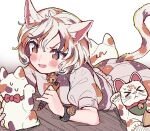 >_< 1girl animal_ear_fluff animal_ears bangs bell blush brown_hair calico cat_ears cat_tail commentary_request fang gold goutokuji_mike holding holding_marker jingle_bell koban_(gold) lying maneki-neko marker multicolored_hair on_stomach open_mouth orange_hair patchwork_clothes puffy_short_sleeves puffy_sleeves red_neckwear red_ribbon ribbon satomachi short_hair short_sleeves skin_fang solo streaked_hair sweatdrop tail touhou v-shaped_eyebrows white_hair wooden_floor wristband yellow_eyes