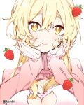 1girl bangs blonde_hair blush breasts cat_lingerie closed_mouth commentary elbow_rest english_commentary food fruit genshin_impact hands_on_own_cheeks hands_on_own_face highres kradebii large_breasts long_sleeves looking_at_viewer lumine_(genshin_impact) meme_attire pink_sweater smile solo strawberry sweater upper_body yellow_eyes