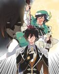 2boys alcohol anger_vein aqua_hair bangs black_gloves black_hair blush bottle bow bowtie braid brown_hair cape closed_eyes commentary_request cup drunk earrings flower genshin_impact gloves gradient_hair green_headwear hair_between_eyes hat holding holding_bottle holding_cup jacket jewelry long_hair long_sleeves male_focus mouth_drool multicolored_hair multiple_boys multiple_views nakayama_miyuki nose_blush open_mouth pinky_out ponytail pouring shaded_face side_braids single_earring tassel tassel_earrings venti_(genshin_impact) white_flower wine wine_bottle yellow_eyes zhongli_(genshin_impact)