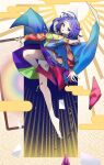 1girl ahoge bangs bare_legs boots breasts cape card dauchimk_1113 dress egasumi eyebrows_visible_through_hair folded_leg from_above hair_between_eyes hairband highres long_sleeves looking_at_viewer medium_breasts multicolored multicolored_clothes multicolored_hairband multicolored_legwear open_mouth patchwork_clothes pink_footwear pouch purple_background purple_hair rainbow_gradient rainbow_print red_button shoes short_hair single_shoe sparkle tenkyuu_chimata touhou violet_eyes white_cape zipper zipper_pull_tab