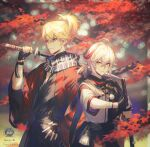 2boys ahoge artist_name autumn_leaves bandaged_hand bandages bangs bead_bracelet beads black_gloves blonde_hair blue_eyes blue_scarf bracelet character_name closed_mouth eyebrows_visible_through_hair fingerless_gloves genshin_impact gloves hair_between_eyes highres holding holding_sword holding_weapon japanese_clothes jewelry kaedehara_kazuha katana kazuha's_friend_(genshin_impact) l!sten leaf male_focus mouth_hold multicolored_hair multiple_boys over_shoulder parted_lips red_eyes redhead scarf sheath streaked_hair sword tassel unsheathing upper_body weapon weapon_over_shoulder white_hair