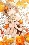 1girl absurdres bangs bare_shoulders black_bow black_ribbon blonde_hair blurry blurry_foreground blush bow braid branch breasts choker closed_mouth collarbone cowboy_shot dress dress_bow english_commentary eyebrows_visible_through_hair flower hair_between_eyes hair_flower hair_ornament hair_ribbon hana_(h6n6_matsu) hands_up highres holding holding_branch leaf looking_away looking_to_the_side off-shoulder_dress off_shoulder orange_eyes orange_flower original plant ribbon short_hair small_breasts smile solo white_background white_dress wide_sleeves