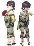 1girl alternate_costume bangs blue_ribbon brown_eyes brown_hair commentary_request folded_ponytail hair_ribbon hand_fan highres japanese_clothes kantai_collection kasuga_maru_(kancolle) kimono long_hair paper_fan remodel_(kantai_collection) ribbon sandals simple_background solo standing striped striped_kimono swept_bangs taiyou_(kancolle) torn_clothes uchiwa white_background yamashichi_(mtseven) yukata