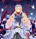 1girl arm_garter bangs black_legwear blonde_hair blush bow breasts bug butterfly commentary_request crack dress eyebrows_visible_through_hair flame_print frilled_dress frills gap_(touhou) hair_bow hand_on_own_thigh hat hat_ribbon high_collar invisible_chair large_breasts light_particles long_hair long_sleeves looking_at_viewer mob_cap night night_sky red_bow ribbon sitting sky smile solo tabard tamasan touhou violet_eyes wide_sleeves yakumo_yukari yin_yang yin_yang_print