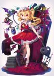1girl alcohol ascot bangs bat blonde_hair blush book book_stack carpet coffin crystal cup drinking_glass flandre_scarlet frilled_shirt_collar frilled_skirt frills gunjou_row hat highres knees laevatein_(touhou) looking_at_viewer mary_janes mob_cap nail_polish pointy_ears puffy_short_sleeves puffy_sleeves red_eyes red_footwear red_nails red_skirt red_vest shirt shoes short_hair_with_long_locks short_sleeves side_ponytail simple_background skirt slit_pupils socks solo standing table tablecloth touhou vampire vest white_background white_legwear white_shirt wine wine_glass wings wooden_floor yellow_neckwear