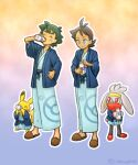 2boys antenna_hair ash_ketchum bangs blue_eyes blue_jacket bottle brown_footwear brown_hair closed_eyes closed_mouth commentary_request drinking goh_(pokemon) green_hair hand_up highres holding holding_bottle ichina0107 jacket long_sleeves male_focus multiple_boys outline pikachu poke_ball_print pokemon pokemon_(anime) pokemon_(creature) pokemon_swsh_(anime) raboot sash short_hair slippers smile twitter_username