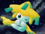 artist_name closed_mouth commentary_request green_eyes hands_up ichina0107 jirachi looking_at_viewer no_humans one_eye_closed pokemon pokemon_(creature) smile solo space star_(sky)