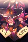 2girls armor asymmetrical_horns bangs bikini_armor blue_eyes blush breasts cape curled_horns dragon_girl dragon_horns dragon_tail dress dual_persona echo_(circa) elizabeth_bathory_(brave)_(fate) elizabeth_bathory_(fate) elizabeth_bathory_(halloween_caster)_(fate) fate/grand_order fate_(series) hair_ribbon hat horns long_hair looking_at_viewer multiple_girls open_mouth pauldrons pink_hair pointy_ears red_armor ribbon shoulder_armor small_breasts smile striped sword tail two_side_up vertical-striped_dress vertical_stripes weapon white_cape witch_hat