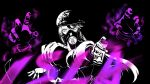baseball_cap can character_name choker disembodied_limb gas_mask graffiti hat highres holding holding_can hollow_555 isla_(kof) jacket looking_at_viewer mask monochrome oversized_clothes paint paint_can respirator spray_can spray_paint spraying the_king_of_fighters the_king_of_fighters_xv