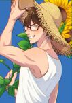 1boy ace_of_diamond bangs blue_background blush brown_eyes brown_hair eren_hshs flower glasses hand_up hat highres holding holding_flower looking_at_viewer male_focus miyuki_kazuya short_hair smile solo straw_hat sunflower sweat tank_top teeth toned toned_male upper_body white_tank_top