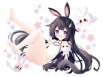 1girl animal_ears ass bangs barefoot black_hair blunt_bangs carrot_hair_ornament casual_one-piece_swimsuit feet food-themed_hair_ornament full_body hair_ornament hairclip highleg highleg_swimsuit highres knees_up legs legs_up long_hair looking_at_viewer one-piece_swimsuit open_mouth original outstretched_arm outstretched_hand pink_eyes rabbit_ears smile soles solo stuffed_toy swimsuit thighs toes tsukimi_(xiaohuasan) white_swimsuit