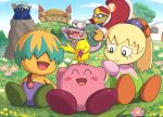 blue_sky boulder bun_(kirby) castle_dedede closed_eyes escargon flower fumu_(kirby) gonzarez grass highres hill king_dedede kirby kirby's_house kirby:_right_back_at_ya kirby_(series) looking_at_another meta_knight ponytail sky smile tokkori_(kirby) tree