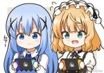 2girls animal_ears bangs black_hairband blonde_hair blue_bow blue_eyes blue_hair blue_vest border bow closed_mouth commentary_request eyebrows_visible_through_hair fake_animal_ears fleur_de_lapin_uniform floppy_ears flying_sweatdrops frilled_hairband frills gochuumon_wa_usagi_desu_ka? green_eyes grey_background hair_between_eyes hair_ornament hairband handheld_game_console holding holding_handheld_game_console kafuu_chino kirima_sharo long_hair long_sleeves mitya multiple_girls nintendo_switch open_mouth playing_games puffy_short_sleeves puffy_sleeves rabbit_ears rabbit_house_uniform shirt short_hair short_sleeves smile twitter_username two-tone_background uniform upper_body vest waitress wavy_mouth white_background white_border white_shirt wrist_cuffs x_hair_ornament