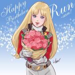 1980s_(style) 1girl alfin belt blonde_hair blue_eyes bouquet breasts crusher_joe english_text flower gloves happy_birthday jacket long_hair looking_at_viewer open_mouth retro_artstyle rose signature smile solo umeno_ryuuji