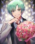 1boy bouquet commentary_request flower formal green_hair grey_eyes highres holding holding_bouquet male_focus necktie penguu_(green528) shirt smile solo spada_belforma suit tales_of_(series) tales_of_innocence white_suit
