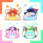 animal_ears animal_hood bangs bangs_pinned_back blue_eyes blunt_bangs braid braided_ponytail cabbie_hat cat_ears clover_print coin_hair_ornament commentary_request diona_(genshin_impact) eyebrows_visible_through_hair fake_animal_ears genshin_impact hair_between_eyes hair_ribbon hat hat_feather hat_ornament hood klee_(genshin_impact) leaf leaf_on_head light_brown_hair long_hair looking_at_viewer low_ponytail low_twintails midorino_(midorino_0114) no_humans ofuda orange_eyes pink_hair pointy_ears purple_hair qing_guanmao qiqi_(genshin_impact) raccoon_ears raccoon_hood red_eyes ribbon sayu_(genshin_impact) short_hair sidelocks silver_hair simple_background single_braid slime_(genshin_impact) slimification smile thick_eyebrows triangle_mouth twintails violet_eyes vision_(genshin_impact) wavy_mouth white_wings wings