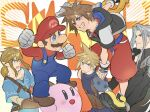 blonde_hair blue_eyes blue_overalls brown_hair cloud_strife facial_hair final_fantasy final_fantasy_vii fingerless_gloves gloves hat jewelry kingdom_hearts kingdom_hearts_i kirby kirby_(series) link male_focus mario multiple_boys mustache necklace open_mouth overalls pointy_ears redhead ryouto sephiroth short_hair silver_hair smile sora_(kingdom_hearts) spiky_hair super_mario_bros. super_mario_bros. super_smash_bros. the_legend_of_zelda the_legend_of_zelda:_breath_of_the_wild