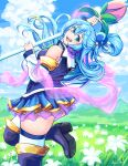 1girl :d aqua_(konosuba) ass bangs black_footwear blue_eyes blue_hair blue_sky blurry boots clouds cloudy_sky commentary depth_of_field detached_sleeves english_commentary eyebrows_visible_through_hair field flower flower_field folded_ponytail from_side grass hagoromo hair_between_eyes hair_bobbles hair_ornament high_heels highres holding holding_staff kono_subarashii_sekai_ni_shukufuku_wo! leaning_back long_hair long_sleeves looking_at_viewer meltyrice open_mouth pleated_skirt shawl sidelocks skirt sky smile solo staff standing standing_on_one_leg thigh-highs thigh_boots zettai_ryouiki