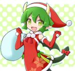 1girl draco_centauros dragon_girl dragon_horns dragon_tail dragon_wings elbow_gloves eyebrows_visible_through_hair fang gloves green_eyes green_hair hat holding holding_sack horns looking_at_viewer open_mouth pointy_ears puyopuyo puyopuyo_quest red_gloves red_headwear sack santa_costume santa_hat short_hair smile solo tail takazaki_piko wings