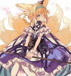 1girl animal_ears arknights bangs bare_shoulders blonde_hair blue_hairband commentary dress fox_ears fox_girl fox_tail frilled_dress frills gloves green_eyes hairband highres holding holding_staff infection_monitor_(arknights) multiple_tails namiharuru oripathy_lesion_(arknights) single_glove solo staff suzuran_(arknights) tail