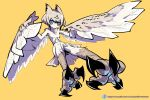 1girl absurdres animal_ears bird_ears bird_legs bird_tail blue_eyes blush_stickers brown_feathers brown_wings commentary_request feathered_wings feathers harpy highres imazawa monster_girl original pixiv_id short_hair sidelocks solo tail talons white_feathers winged_arms wings yellow_background